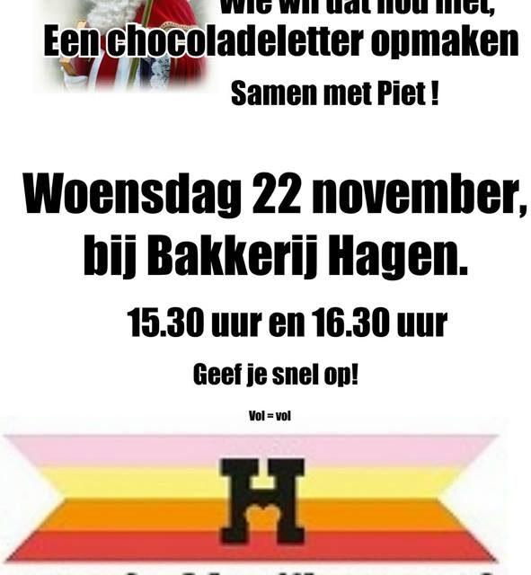 chocolade letter maken bij bakkerij Hagen