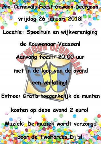 Pre-Carnavals feest Gewoon Deurgoan!