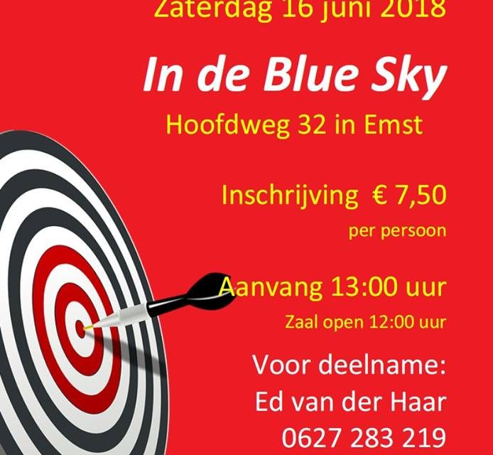 Single darttoernooi 16 juni 2018