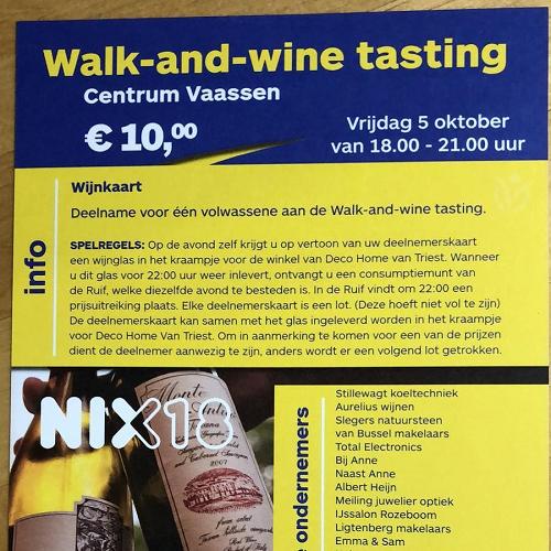 Walk and Wine tasting in het centrum van Vaassen 2018