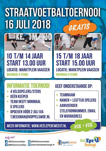 Sportieve aftrap zomervakantie: Straatvoetbaltoernooi voor jongeren op 16 juli in Vaassen.