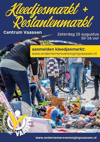 Kleedjes en restantenmarkt 25 augustus centrum Vaassen