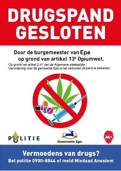 Tijdelijke sluiting woning Dorpsstraat na vondst drugs