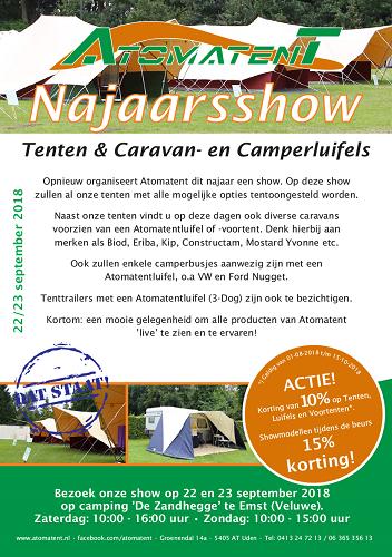 22 en 23 september Najaarshow Atomatent op camping de Zandhegge Emst