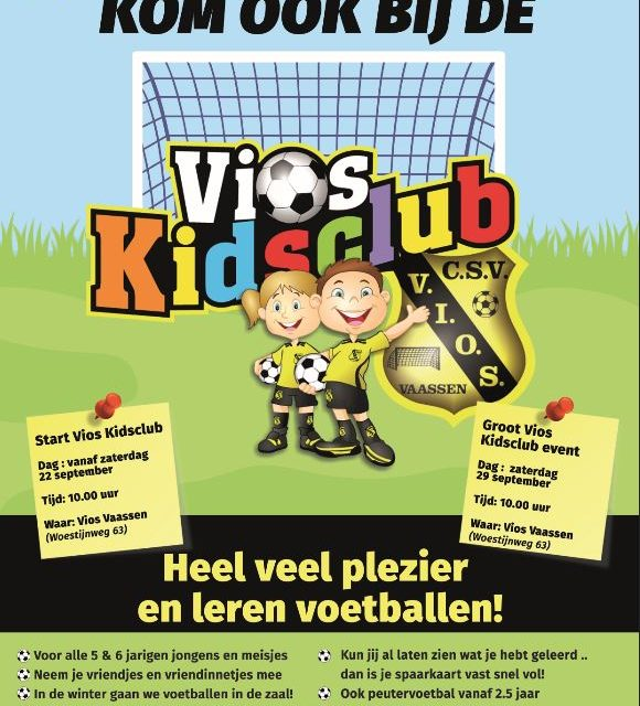 Kom vanaf zaterdag 29 september ook bij de Vios Kidsclub