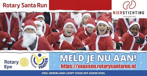 Rotary Santa Run op 15 december centrum Vaassen