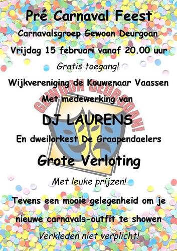 Pré Carnaval Feest Gewoon Deurgoan 2019