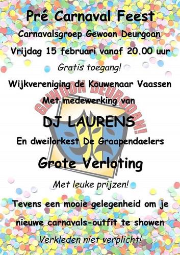 Carnavalsgroep uit Vaassen organiseert tweede editie Pré-Carnaval Feest!