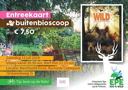 Buitenbioscoop film Wild georganiseerd door VVV Epe en Burnside Cablepark