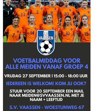 S.V. Vaassen organiseert op 27 september een meiden voetbalmiddag