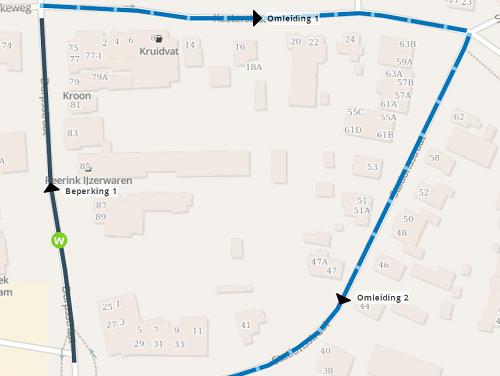 Deel Dorpsstraat Vaassen tijdelijk eenrichtingsverkeer