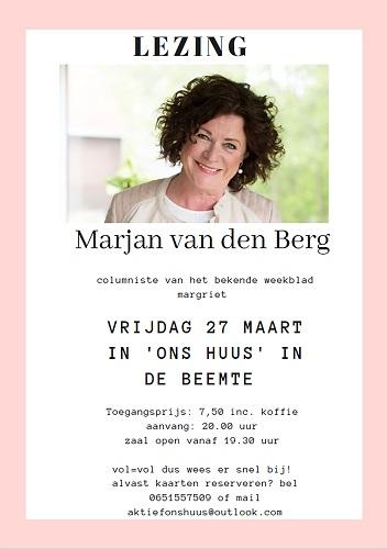 Lezing Marjan van den Berg bekend van weekblad Margriet