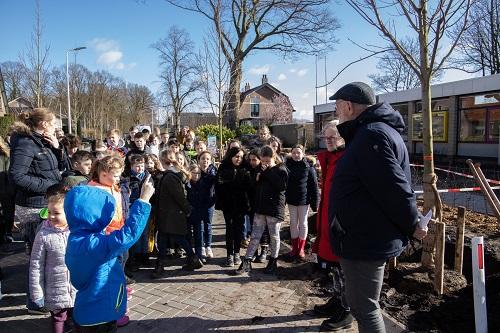Aanplant laatste bomen aan Oude Wisselseweg