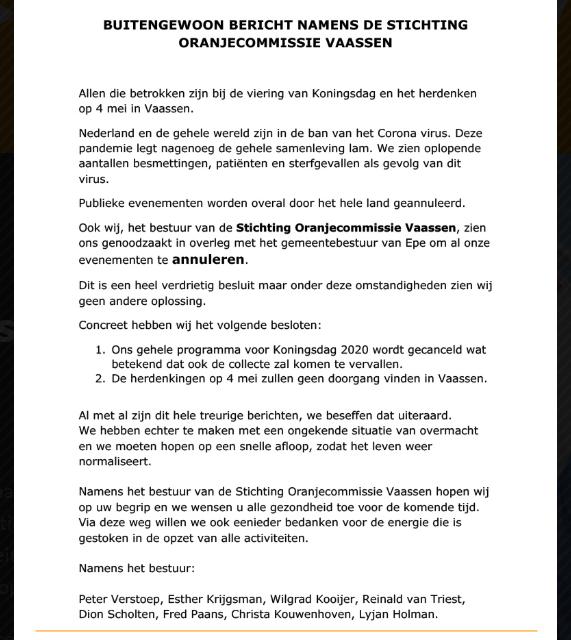 Oranjecommissie Vaassen: Buitengewoon bericht!