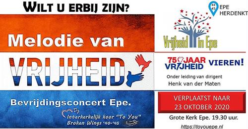 Concert Melodie van Vrijheid verplaatst naar 23 oktober