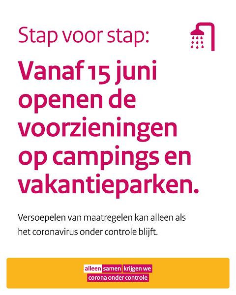 Vanaf 15 juni: voorzieningen campings en parken weer open