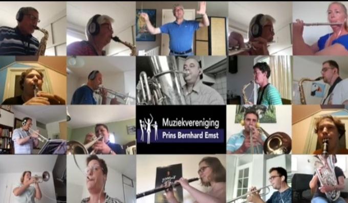 Leden muziekvereniging Prins Bernhard uit Emst hebben online gemusiceerd