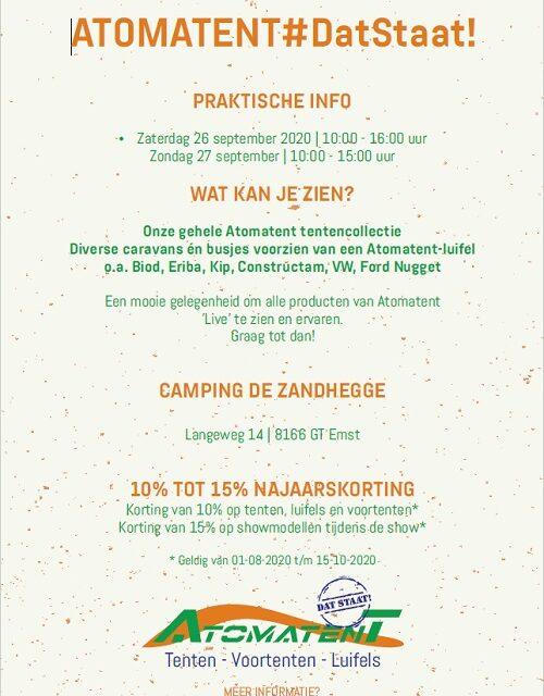 """Atomatent najaarsshow camping """"De Zandhegge""""!"""