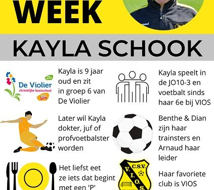 Pupil van de week bij CSV Vios is Kayla Schook