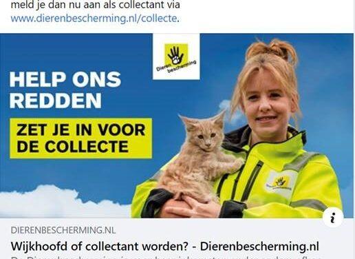 Dierenbescherming zoekt collectanten